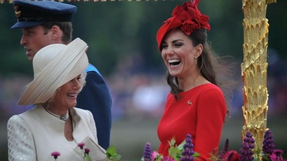 The Duchess of Cornwall and Duchess of Cambridge share a joke on the Spirit of Chartwell.