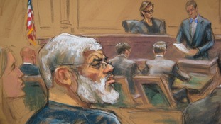 A sketch of Abu Hamza in the New York courtroom.