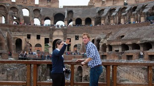 Prince Harry receives a guided tour of the Colosseum