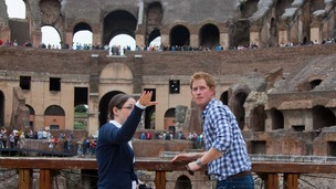 Prince Harry gets a guided tour of Rome's Colosseum