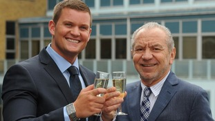 Lord Sugar congratulates Ricky Martin (left), the winner of the BBC television programme The Apprentice,