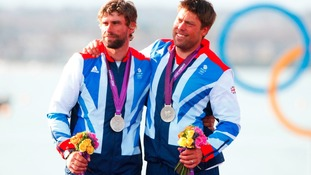 Andrew Simpson, on the right, seen here with his sailing partner Iain Percy at the London 2012 Olympics