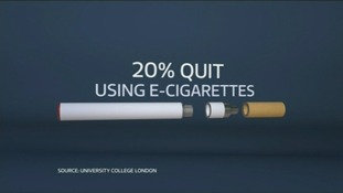 Graphic showing 20 percent of smokers quit using e-cigarettes