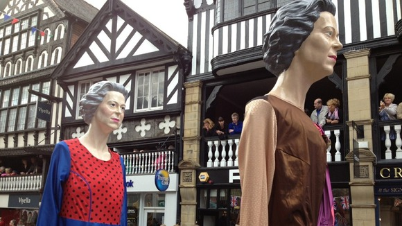 Chester&#x27;s Jubilee Giants parade through the city