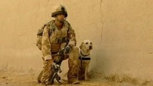 Lance Corporal Kenneth Rowe and army labrador Sasha.