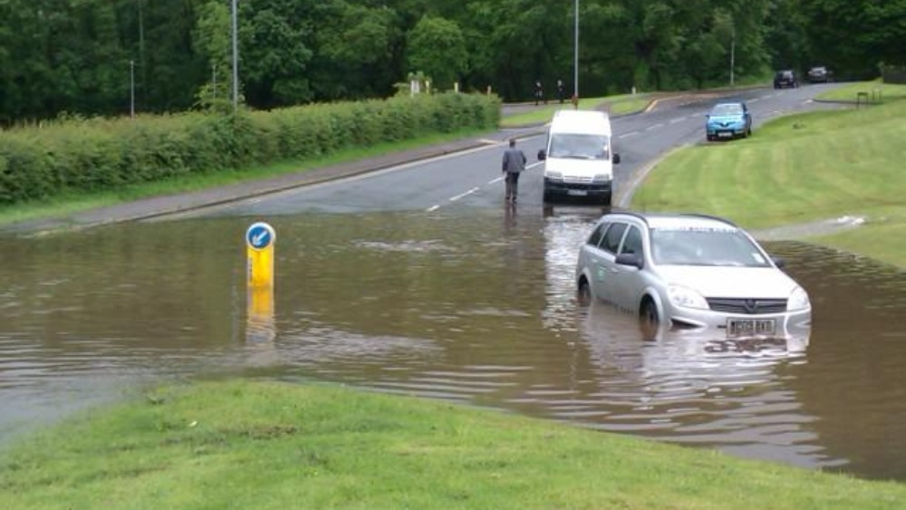 vehicles caught out by flash flooding in cwmbran wales. Black Bedroom Furniture Sets. Home Design Ideas