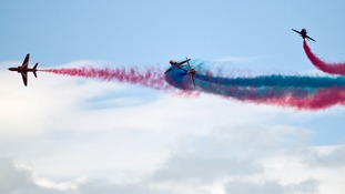 The Red Arrows in action at the Waddington International Airshow