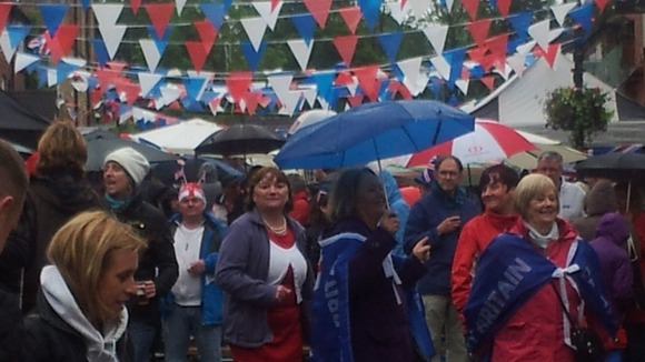 A good old wet day in Marple Bridge for Her Maj