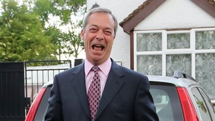 Nigel Farage photographed outside his home this morning.