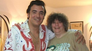 Andrea Barker with an Elvis impersonator.