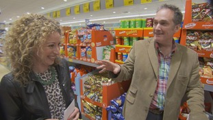 Jonny and Kate in a supermarket