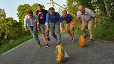 The 3kg Gouda is tested ahead of this years cheese rolling event in Gloucester.