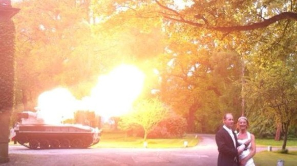 The guns firing to celebrate the couple's nuptials.