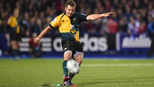 Stephen Myler's golden boot in action