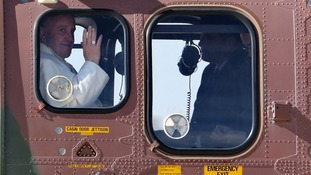 Pope Francis took a helicopter from Jordan to the West Bank.