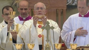 Pope Francis conducts the Mass in Bethlehem.