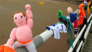 A topless fan is one of the creations by the Saltburn yarnbombers.