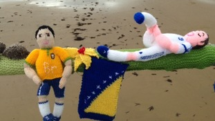 A woollen player warms up in Saltburn.