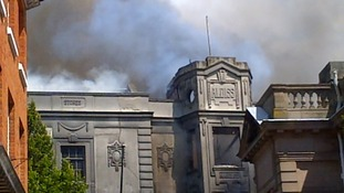 Smoke rises above Fakenham Market Place