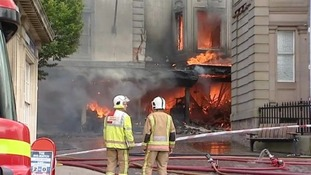 Fire tears through the old Aldiss building