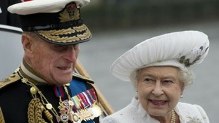 Queen Elizabeth II and the Duke of Edinburgh arrive at Chelsea Pier during the Diamond Jubilee River Pageant yesterday.