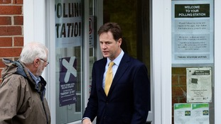 Deputy Prime Minister Nick Clegg leaves after casting his vote in Sheffield.