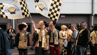 Early risers: Hundreds of Burton fans caught a coach to Wembley this morning