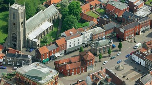 Aerial view of Fakenham market place before the fire