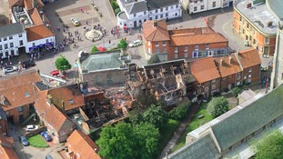 Aerial view of damage to Fakenham market place