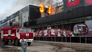 "The home venue of the ice hockey club ""Donbass"" on fire in Donetsk."