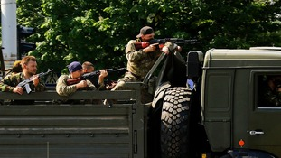Pro-Russian militants in Donetsk.