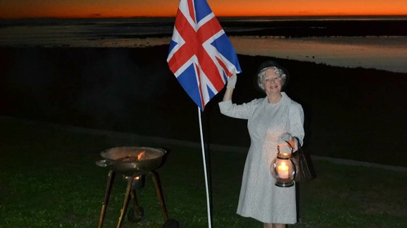 Lynn Moss dressed as Queen Elizabeth ll in Cape Town