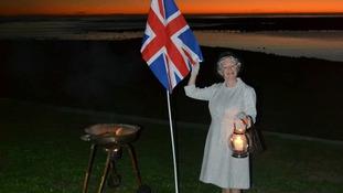 Lynn Moss dressed as Queen Elizabeth ll in Cape Town