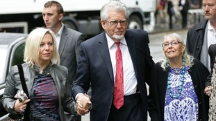 Rolf Harris arriving at court with his daughter Bindi (left), and wife Alwen.