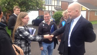 William Hague greeted supporters in Newark