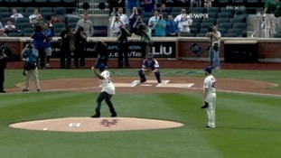 50 Cent's pitch almost hit the assembled camera crews.