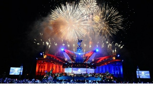 Fireworks were set off over Buckingham Palace after the Queen lit the final beacon