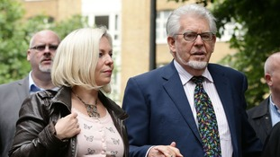 Rolf Harris with his daughter Bindi outside Southwark Crown Court today.