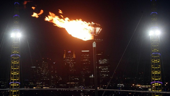 A beacon is lit to celebrate the Diamond Jubilee on the roof of the O2