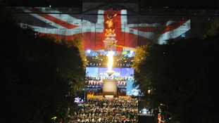 A beacon is lit outside Buckingham Palace during the Jubilee concert, a part of the Diamond Jubilee celebrations
