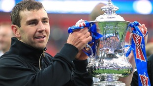 James McArthur with the FA Cup after Wigan's win last year.