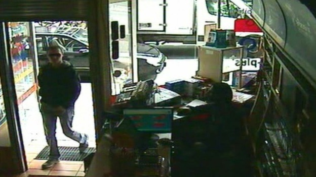 This CCTV image shows Luka Rocco Magnotta entering the Internet cafe in Berlin, Germany before his arres