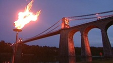 The flame at the Menai Bridge