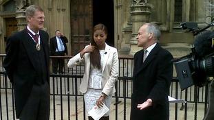 Master Mercer Tom Sheldon, Tanya Whyte and Alastair Stewart outside the St Stephens entrance of the House of Commons.