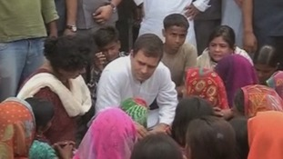 Vice president of India's Congress Party Rahul Gandhi visited the site where the teenager's were found hanged.