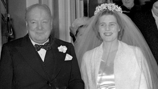 Winston Churchill pictured in 1947 his daughter, then called Mary Churchill, on her wedding day.