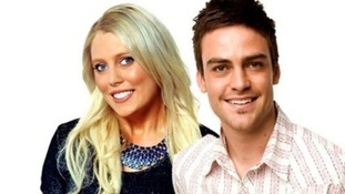 Mel Greig with Michael Christian, who returned to the airwaves after the prank call.