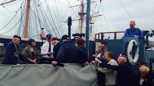 British and US veterans pay a visit to Portsmouth's historic dockyard today.