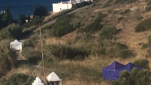 The scene today at waste land in Praia da Luz where British police are investigating the disappearance of Madeleine McCann.