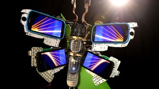 The digital butterfly commissioned by O2 Recycle has been made out of smartphone components.
